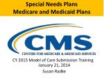 Special Needs Plans Medicare and Medicaid Plans