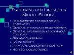 Preparing for Life after Middle School