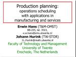 Production planning : operations scheduling with applications in manufacturing and services
