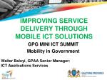 IMPROVING SERVICE DELIVERY THROUGH MOBILE ICT SOLUTIONS