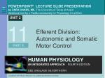 Efferent Division: Autonomic and Somatic Motor Control