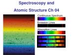 Spectroscopy and  Atomic  Structure Ch 04
