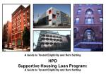 HPD Supportive Housing Loan Program: A Guide to Tenant Eligibility and Rent Setting