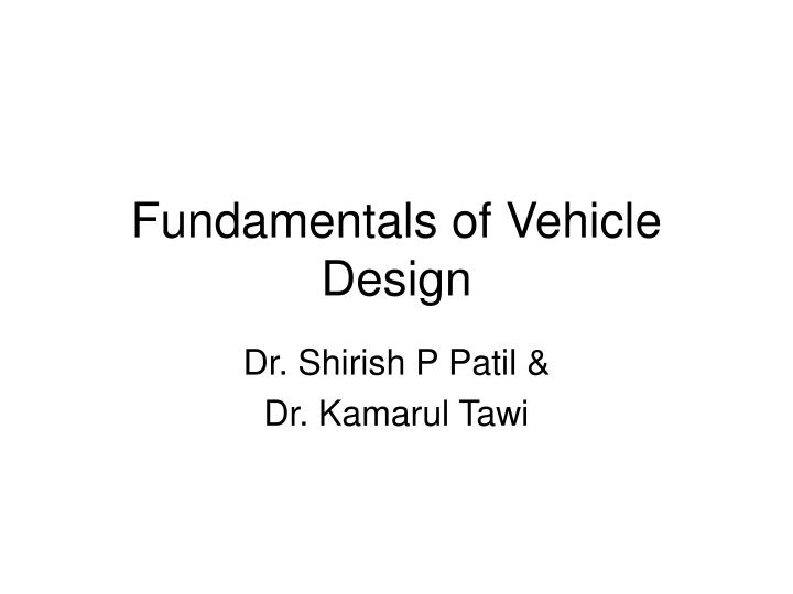 fundamentals of vehicle design n.