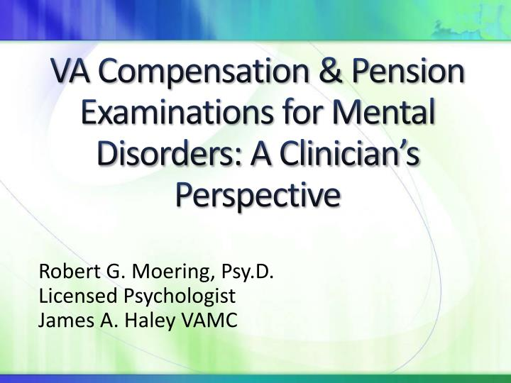 va compensation pension examinations for mental disorders a clinician s perspective n.