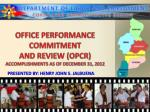 OFFICE PERFORMANCE COMMITMENT  AND REVIEW (OPCR) ACCOMPLISHMENTS AS OF DECEMBER 31, 2012