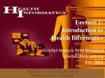 Lecture 1: Introduction to Health Informatics