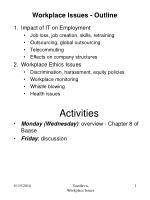 Workplace Issues - Outline