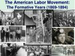 The American Labor Movement: The Formative Years (1869-1894)
