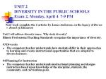 UNIT 2 DIVERSITY IN THE PUBLIC SCHOOLS Exam 2, Monday, April 4 7-9 PM