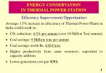 ENERGY CONSERVATION  IN THERMAL POWER STATION