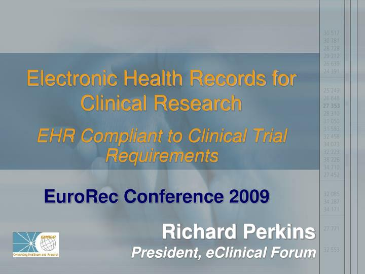 electronic health records for clinical research n.