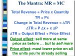 The Mantra: MR = MC
