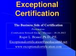 Exceptional Certification