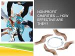 Nonprofit charities—how effective are they