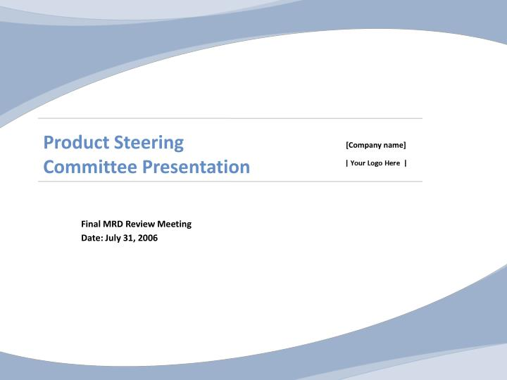 product steering committee presentation n.