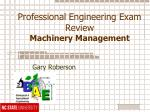 Professional Engineering Exam Review Machinery Management