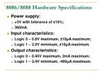 8086/8088 Hardware Specifications