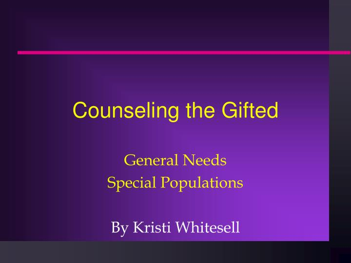 counseling the gifted n.