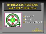 HYDRAULIC SYSTEMS and APPLY DEVICES