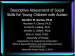 Descriptive Assessment of Social Skills for Young Children with Autism