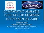 COMPARATIVE ANALYSIS: FORD MOTOR COMPANY TOYOTA MOTOR CORP