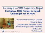 An Insight to CDM Projects in Nepal  Cookstove  CDM Project in Nepal: Challenges for an NGO