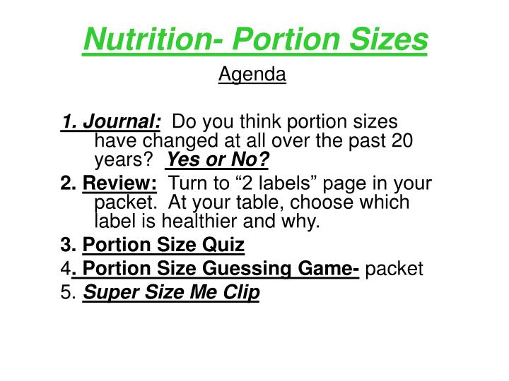 nutrition portion sizes n.
