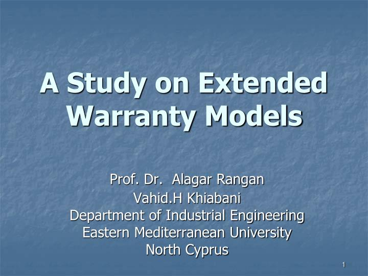 a study on extended warranty models n.