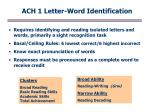 Requires identifying and reading isolated letters and words, primarily a sight recognition task
