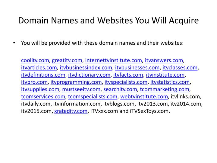 domain names and websites you will acquire n.