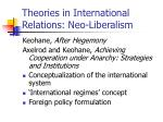 Theories in International Relations: Neo-Liberalism