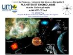 I- Structuration de l'Univers II- Astrochimie III- Formation gravitationnelle IV- Etoiles