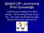 WARM UP—Activating Prior Knowledge