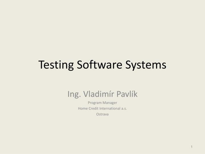 testing software systems n.