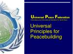 Ambassadors for Peace: an alliance of people  aligned with core  universal principles .