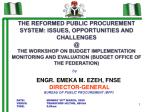 ENGR. EMEKA M. EZEH,  FNSE DIRECTOR-GENERAL  BUREAU OF PUBLIC PROCUREMENT (BPP)