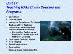 Unit 17: Teaching NAUI Diving Courses and Programs
