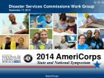 Disaster Services  Commissions Work Group