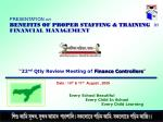 """"""" 22 nd Qtly Review Meeting of Finance Controllers """""""