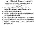 How did Greek thought dominate Western inquiry for centuries to come?