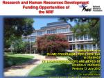Research and Human Resources Development  Funding  O pportunities of the NRF