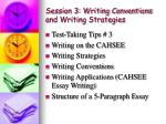Session 3: Writing Conventions and Writing Strategies