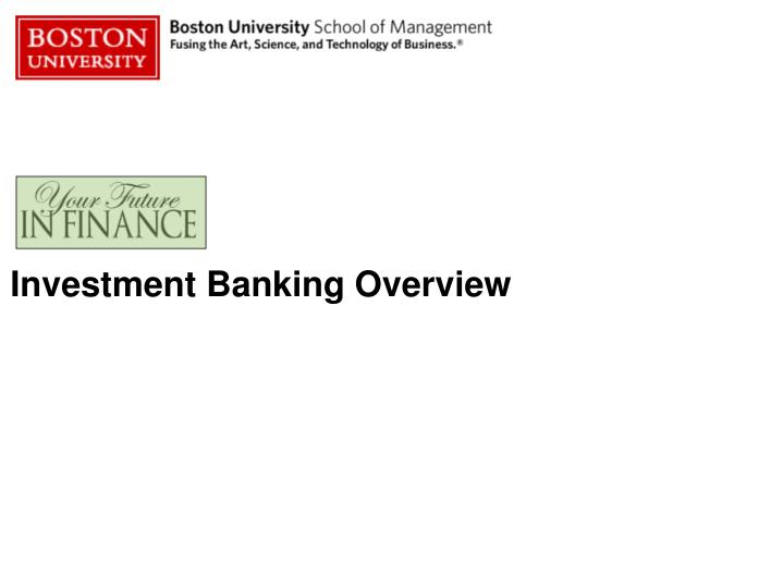 investment banking overview n.