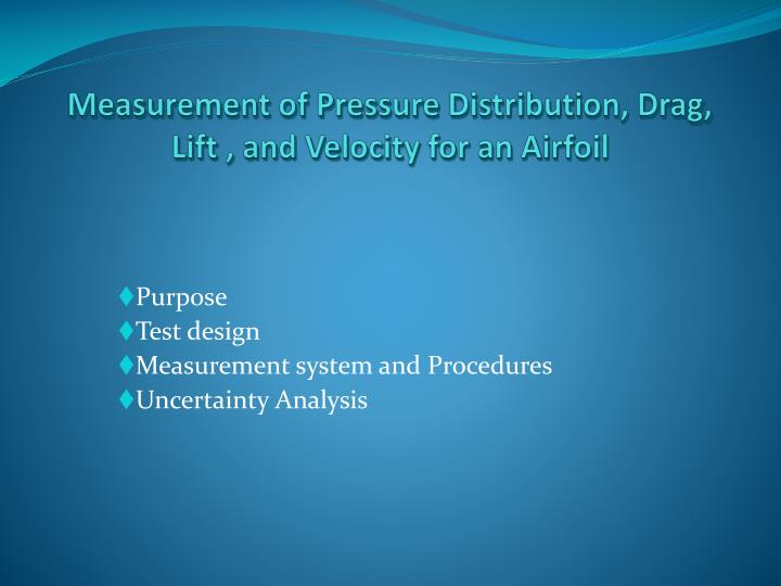 measurement of pressure distribution drag lift and velocity for an airfoil n.