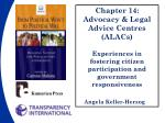 Chapter 14: Advocacy & Legal Advice Centres (ALACs)