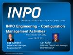 INPO Engineering – Configuration Management Activities