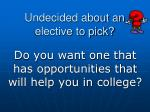 Undecided about an elective to pick?