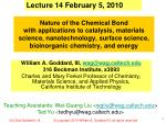Lecture 14 February 5, 2010