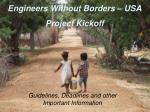 Engineers Without Borders – USA Project Kickoff
